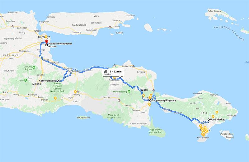 Ijen Blue Fire Bromo Ijen Tour Map 3D2N from Ubud Bali